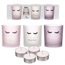Pack de 3 candeles con 4 velas de te Chic