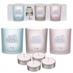 Pack de 3 candeles con 4 velas de te nubes