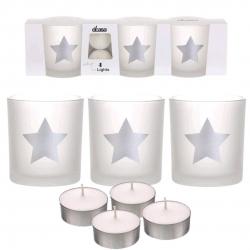 Pack de 3 candeles con 4 velas de te estrellas plata