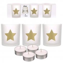 Pack de 3 candeles con 4 velas de te estrellas oro