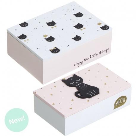Juego de 2 cajas madera blanco cat lover