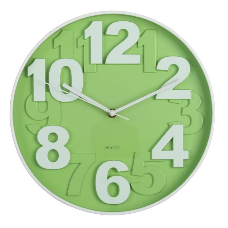 Reloj de pared moderno verde de pl stico para cocina - Reloj decorativo de pared ...