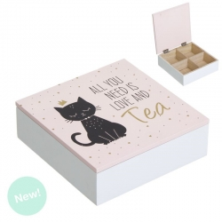 Caja TÉ de madera gatos lover