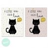 Set 2 cuadro lienzo gatos little 30x40 cm