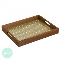 Bandeja rectangular madera base cristal milord