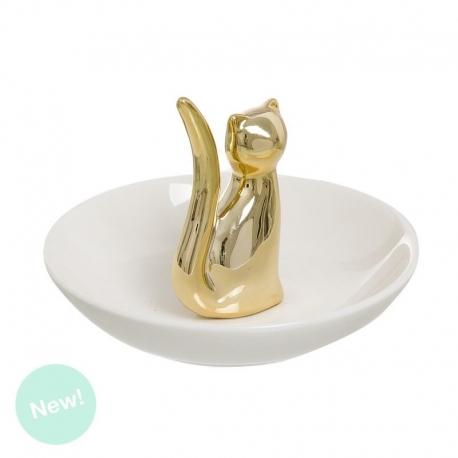 Anillero gato oro .