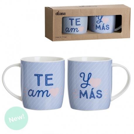 Pack 2 Tazas ceramica frase Te amo y Mas