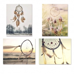 Set 4 cuadro lienzo atrapasueños 40x50 cm