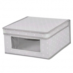 Caja guarda ropa estrellitas con ventana y tapa abatible S