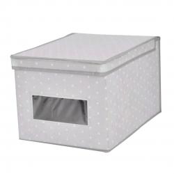 Caja guarda ropa estrellitas con ventana y tapa abatible M