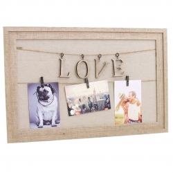 Panel portafoto con pinzas love
