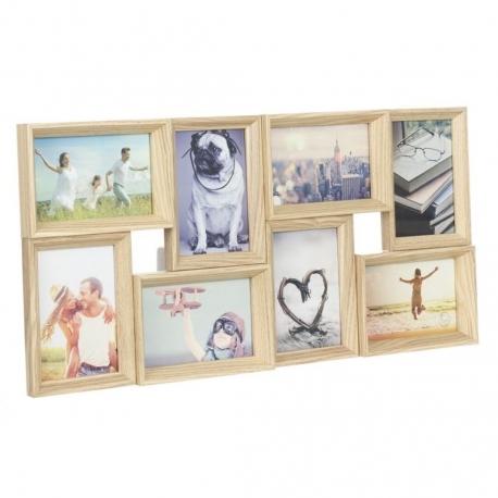 Portafotos multiple 8 fotos de madera 60x30 cm .