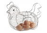 Huevera de gallina clásica plateada de metal para cocina Basic