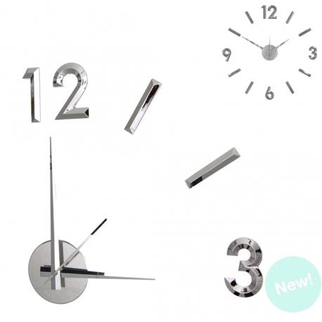 Reloj de pared adhesivo efecto 3D color plata