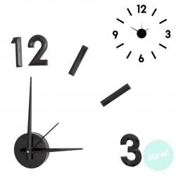 Reloj de pared adhesivo efecto 3D color negro