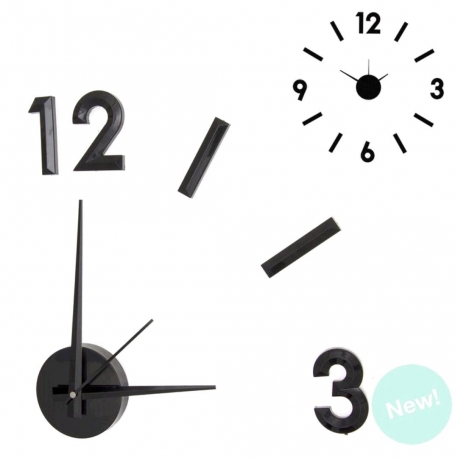 Reloj de pared adhesivo efecto 3D color negro