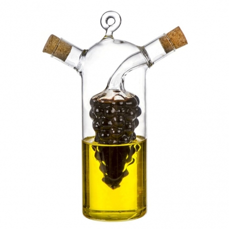 Aceitera vinagrera de cristal con tapon para cocina Basic