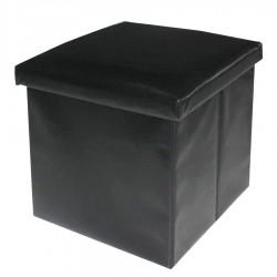 Puf arcón sencillo polipiel negro liso moderno 40 x 40 x 40 cm