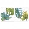 Set 2 cuadro lienzo hojas 30x30 cm