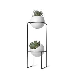 Macetero Doble, Metal, Blanco y Negro, 69x31x22 cm