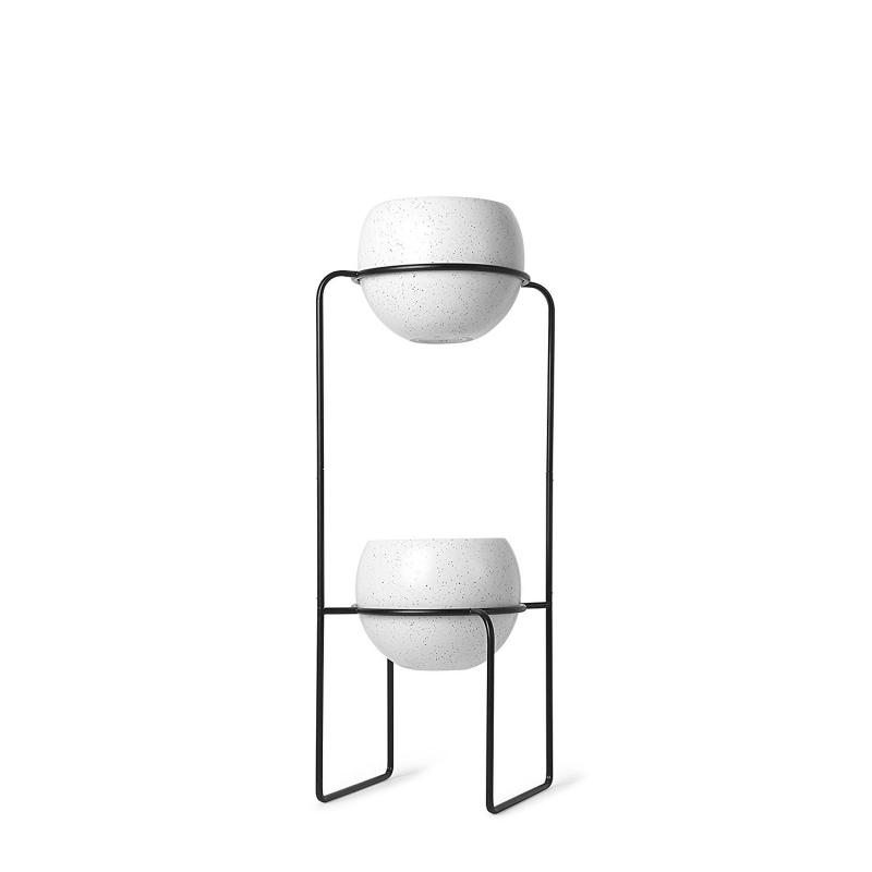 Macetero Doble, Metal, Blanco y Negro, 69x31x22 cm| Dcasa.es
