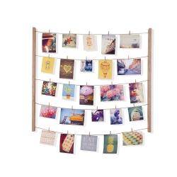 Marco de fotos con pinzas para pared natural