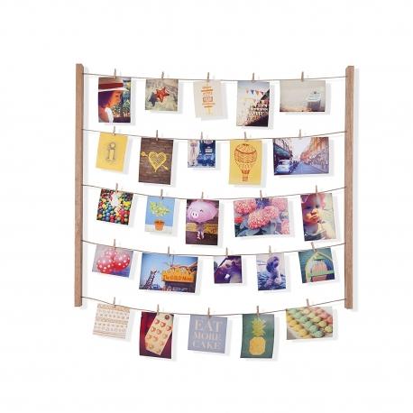 Marco de fotos con pinzas para pared natural| dcasa.es
