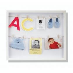 Marco Vertical con 12 pequeñas pinzas para fotos o notas, color blanco