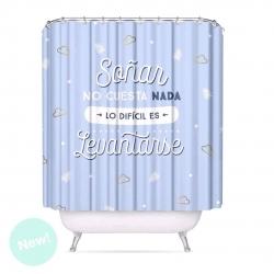 """Cortina de baño moderno peva con frases """"SOÑAR"""" 180x200 cm"""