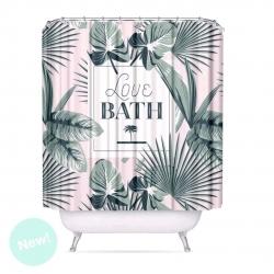 Cortina de baño moderno peva tropical hojas 180x200 cm