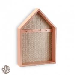 Caja llaves 4 colgadores de madera forma casa rosa
