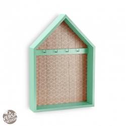 Caja llaves 4 colgadores de madera forma casa verde