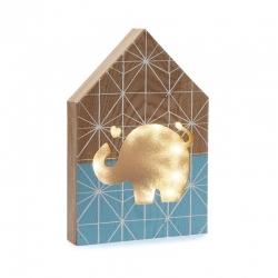 Caja de luz forma casa elefante azul