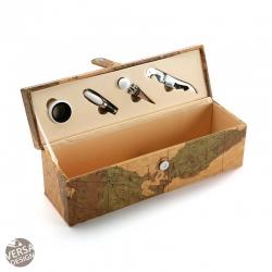 Botellero mapamundi con 4 accesorios