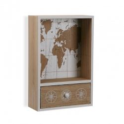 Colgador de llaves con cajon mapa mundo