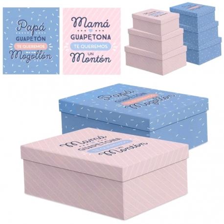 f3f8fa7a9 Juego 3 cajas regalo diseño Papa o Mama| Dcasa.es