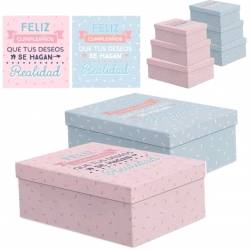 Juego 3 cajas regalo diseño para CUMPLEAÑOS