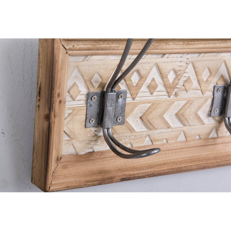 Perchero madera para pared 5 colgadores 65x8x16 cm - Perchero madera pared ...