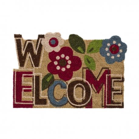 """Felpudo original """"flower welcome"""" fibra de coco 60 x 40 cm"""