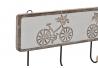 Perchero pared 4 colgador madera tallada bicicleta 46x6x16 cm