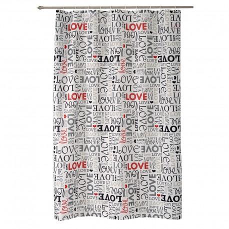 "Cortina baño diseño original romantica ""love"" 100% poliester 180 x 200 cm"