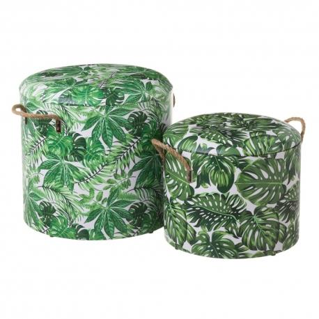 Puffs baúl de madera tapizados verdes étnicos para salón Sol Naciente