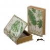 Juego 2 caja libro de seguridad de madera verde étnico salón Iris
