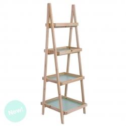 Estantería tijera verde de 4 estantes de madera