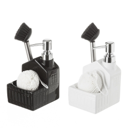 Dispensador con estropajero y cepillo para cocina blanco y negro