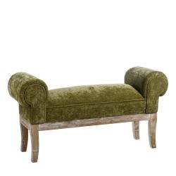 Banqueta pie de cama de madera verde clásica para dormitorio Bretaña