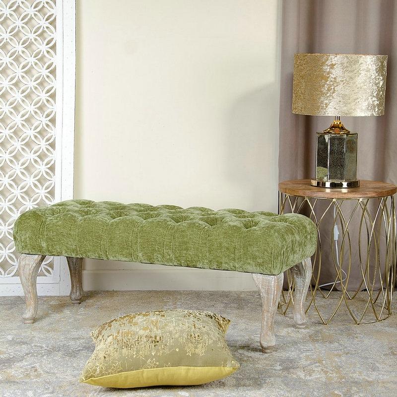 Banqueta de pie de cama de madera verde cl sica para dormitorio breta a - Banquetas para dormitorio ...