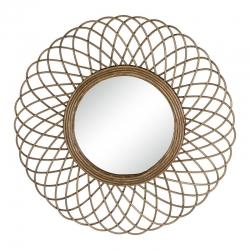 Espejo flor de rattan natural marrón moderno para salón de 51 cm Sol Naciente