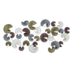 Mural cabecero de metal nenufar gris blanco iris