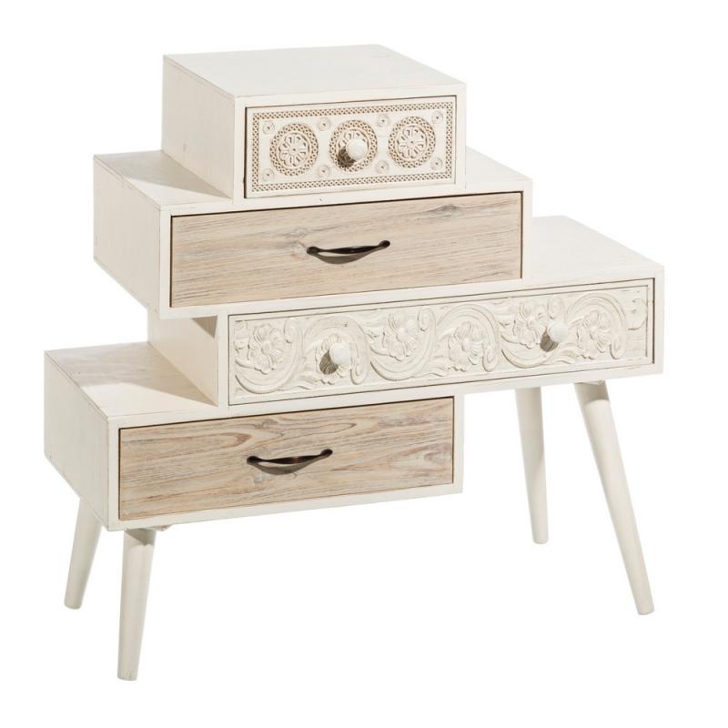 C moda blanca de madera de dise o vintage para dormitorio - Comodas y cajoneras ...